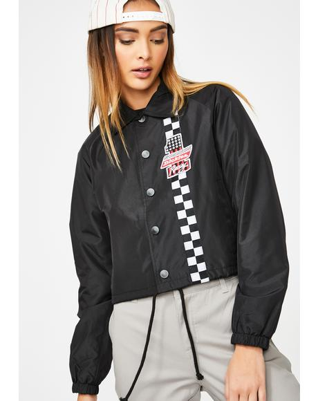 Checkered Cropped Windbreaker Jacket
