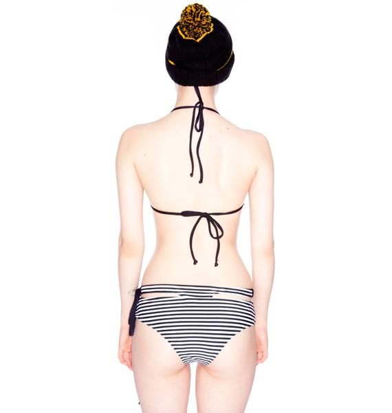 One Teaspoon Caribbean Stripe Bone Tri Bikini