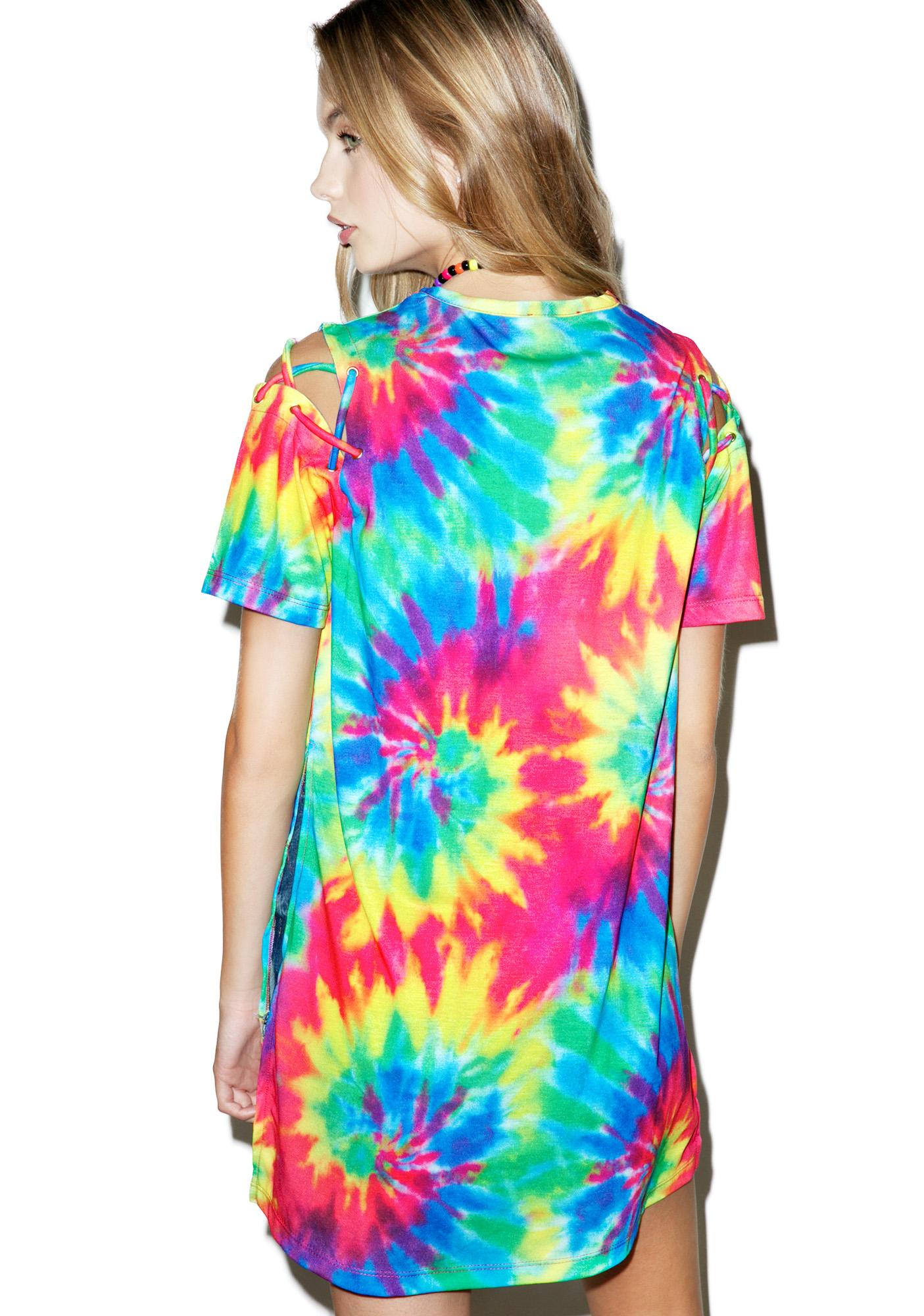 Jaded London Tie Dye Lace Up Tee
