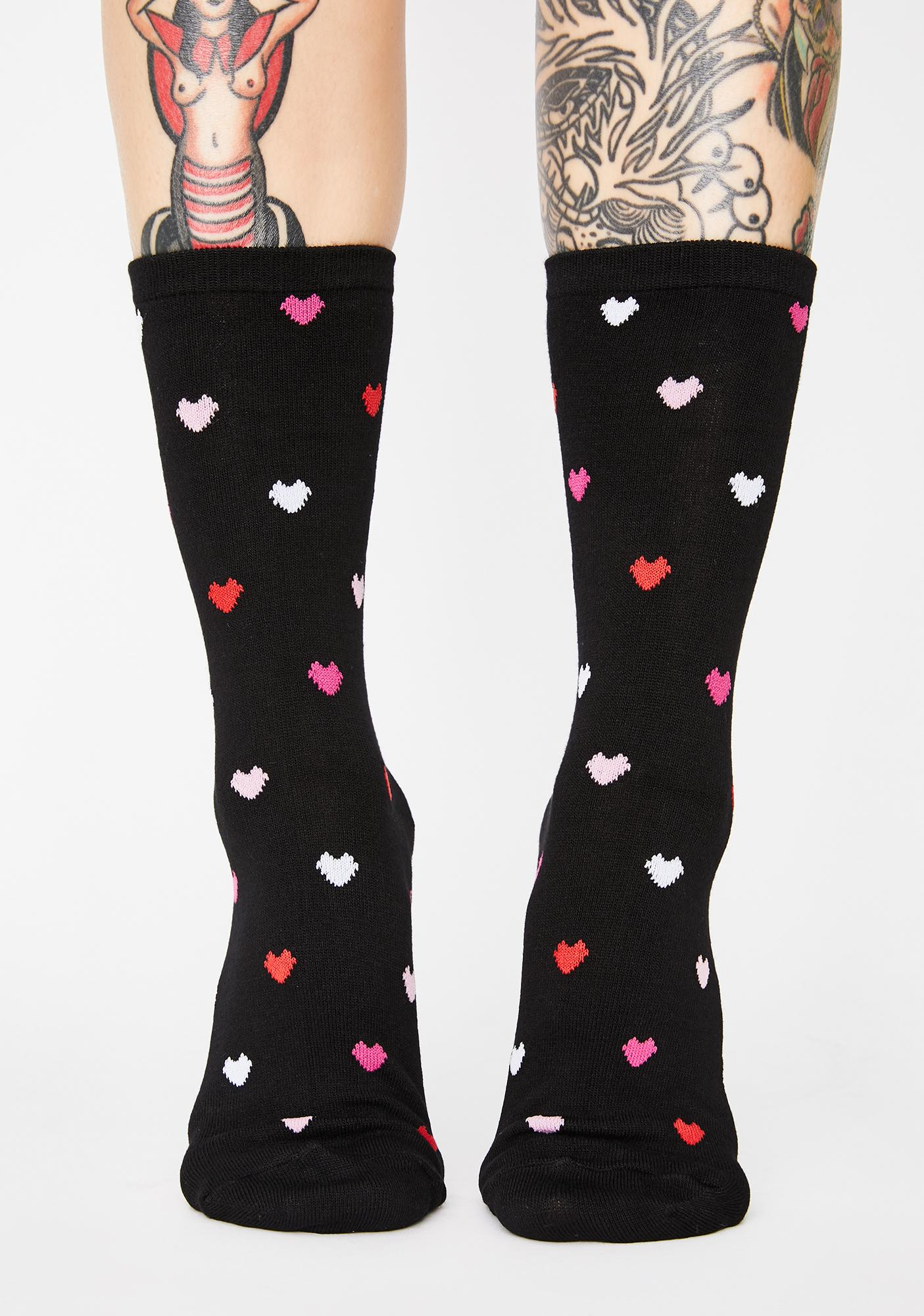 MeMoi Black Delicate Hearts Bamboo Crew Socks