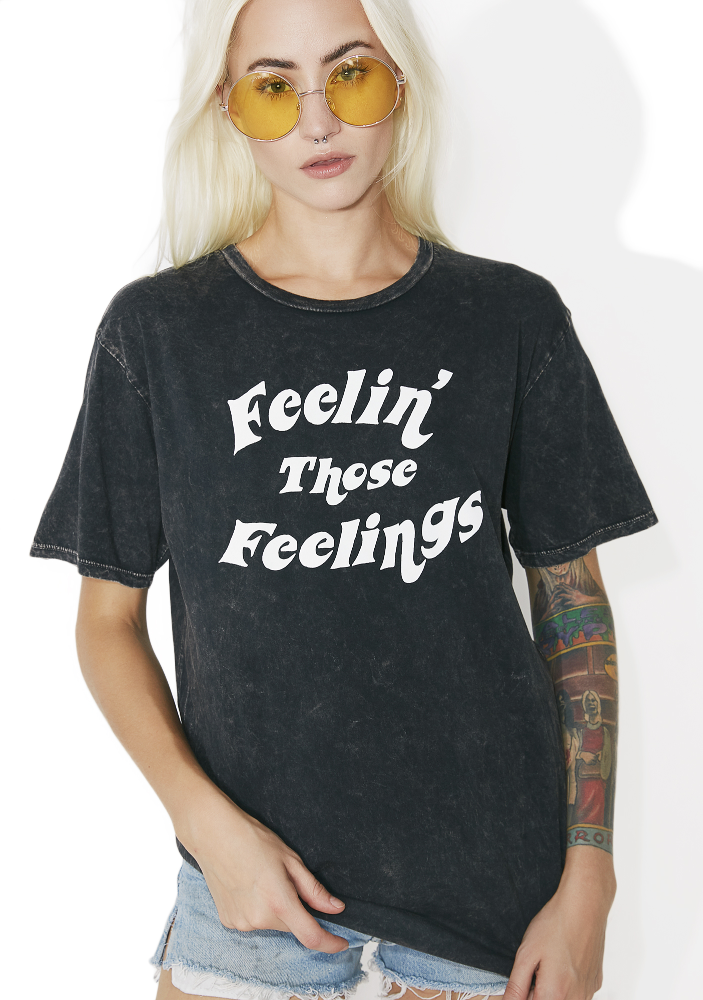 Feelings Black Crewneck Graphic Tee