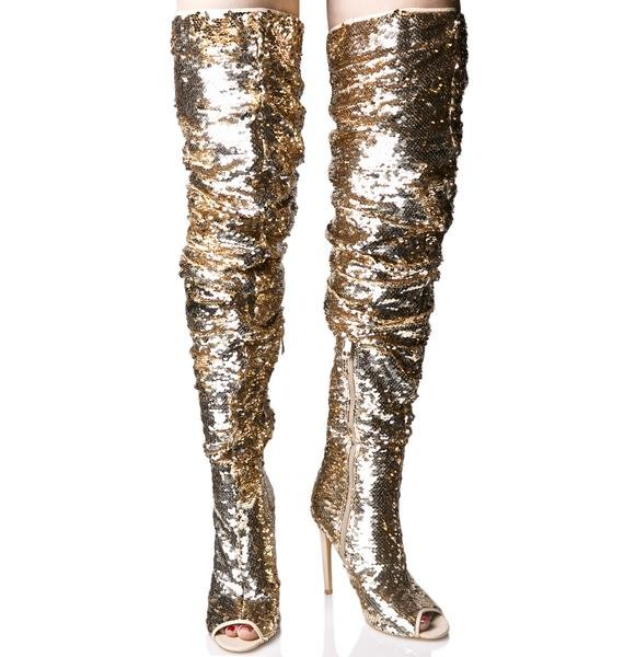 Treasured Sequin Thigh-High Boots