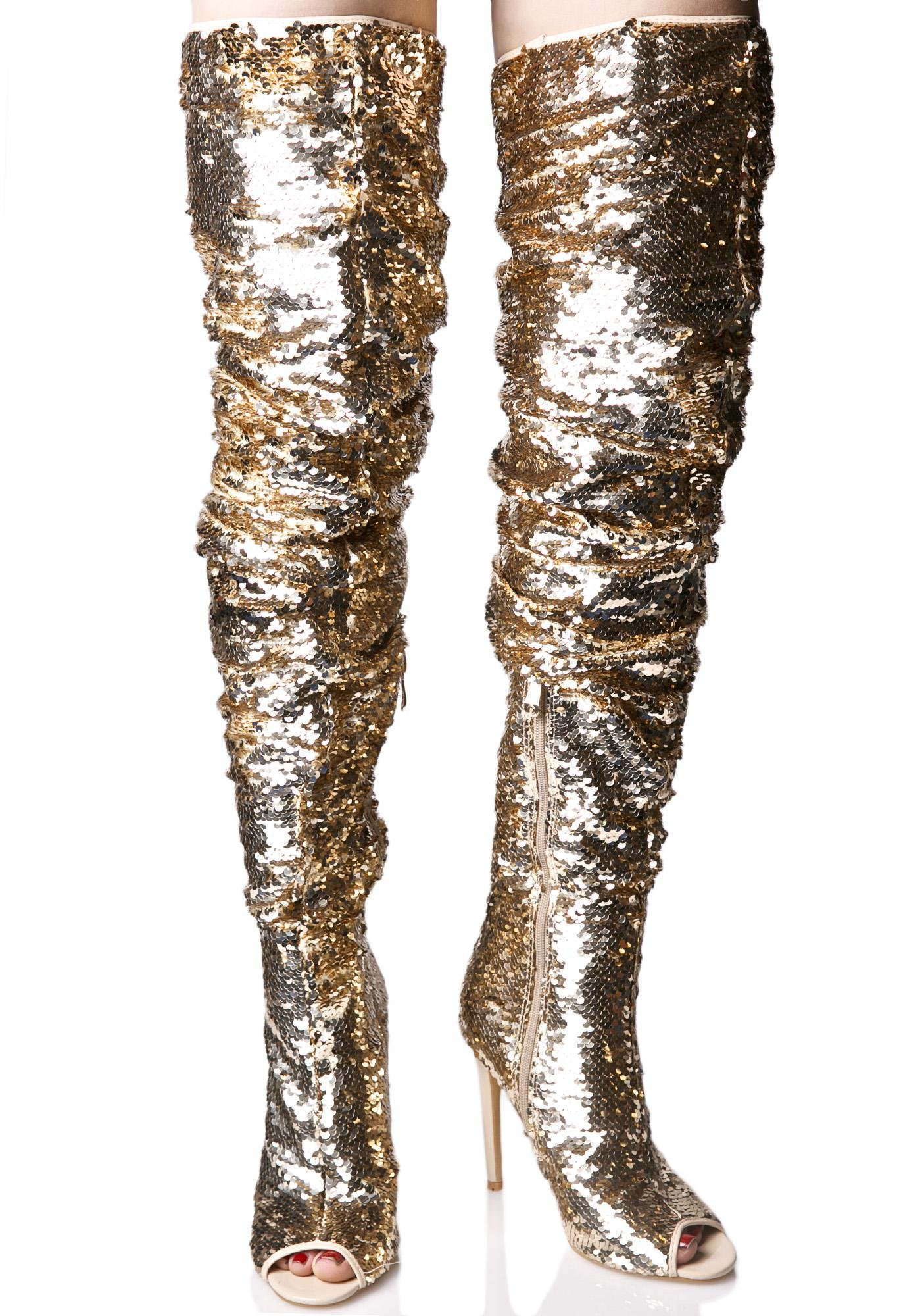 treasured sequin thigh high boots dolls kill
