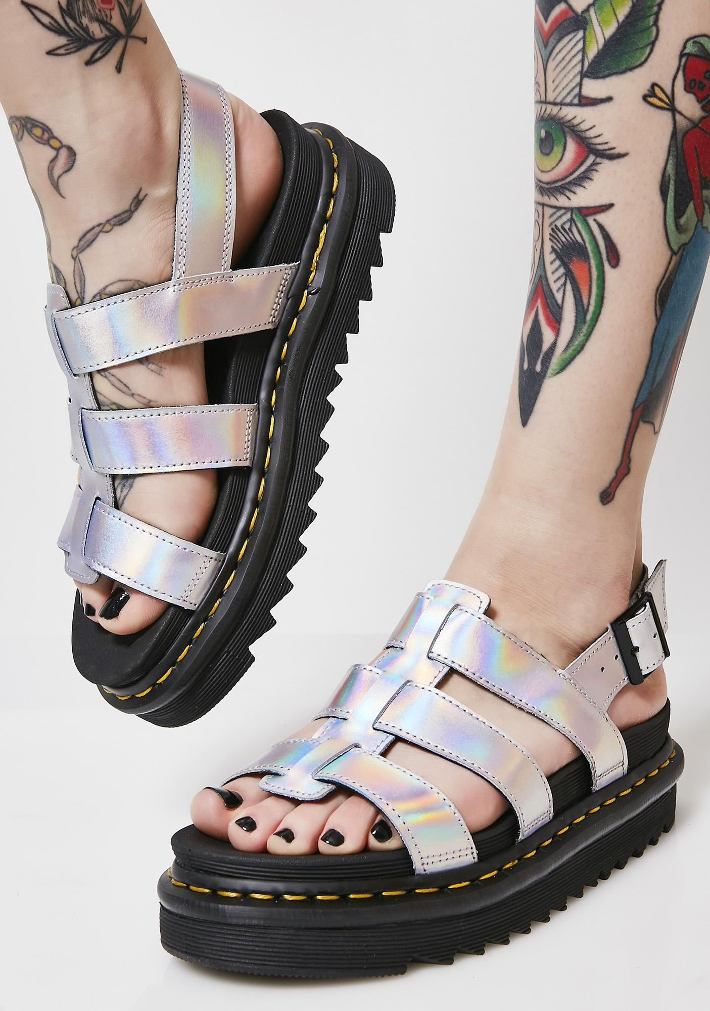 Silver Yelena sandals Dr. Martens