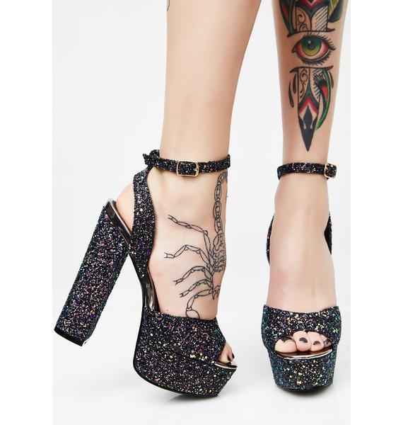 Onyx Nebula Glitter Platform Heels