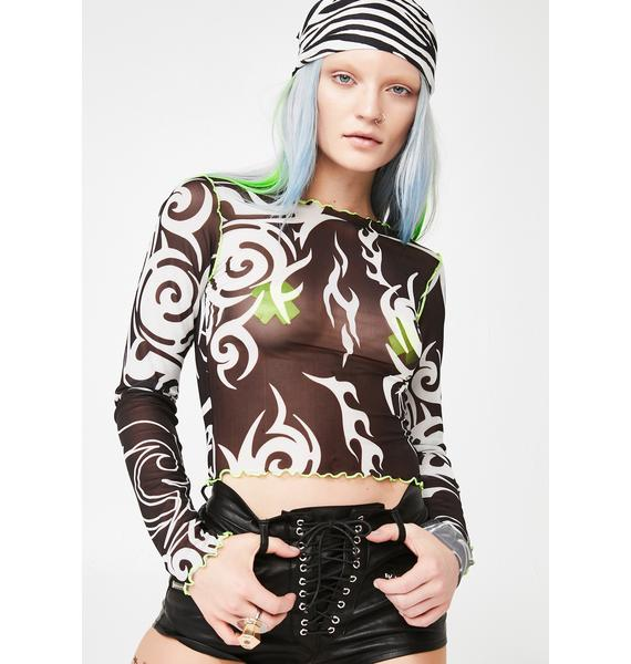 Jaded London Tribal Print Mesh Top