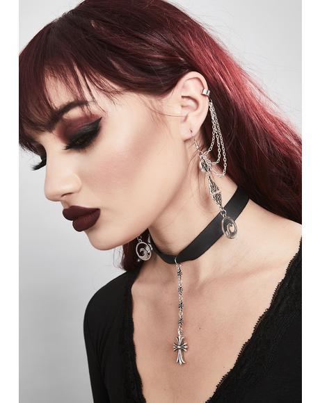 Hexed Horrors Cuff Hook Earrings