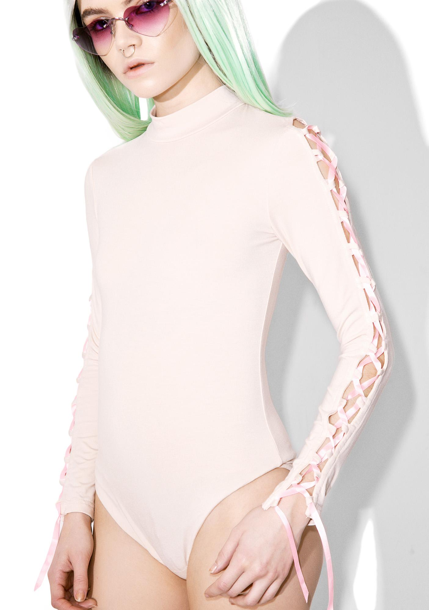 Sugarpills Nude Lace-Up Bodysuit
