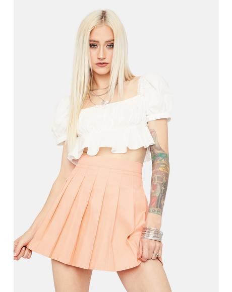 Peach Just Like Candy Pleated Skirt