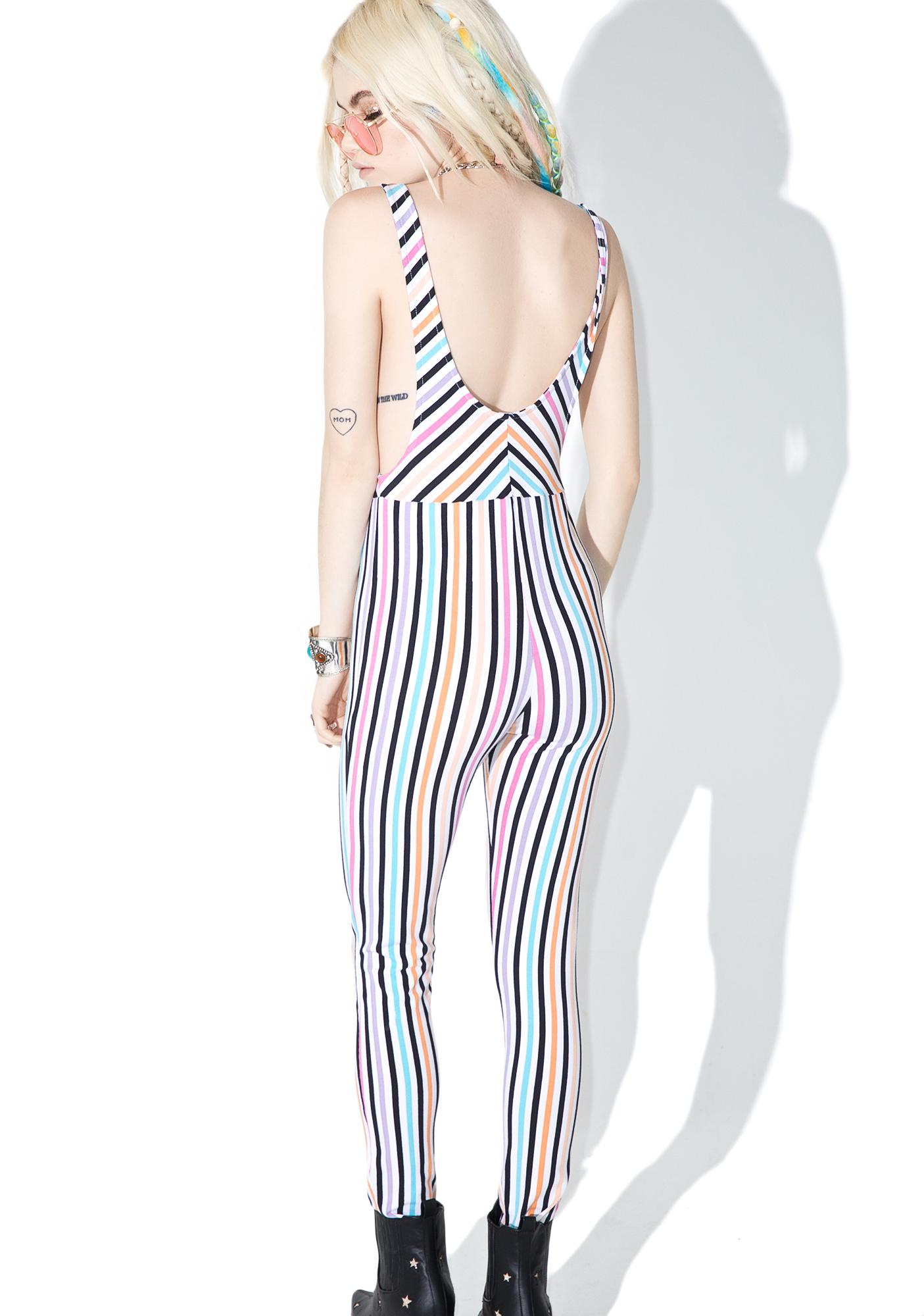 Motel Candy Stripe Summer Titanium Unitard