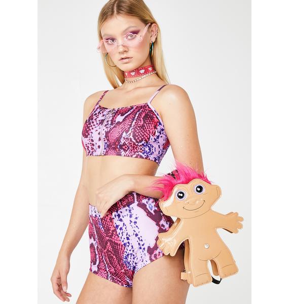 Elsie & Fred Rodeo Pink Snakeskin Hot Shorts