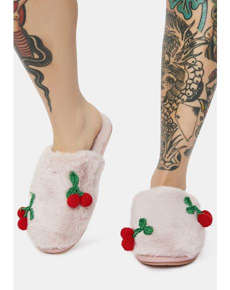 Cherry Bliss Fur Slippers