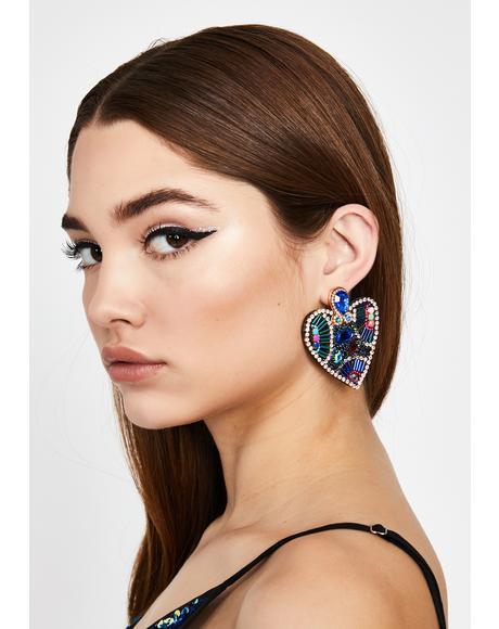Aqua Love Glamour Beaded Earrings