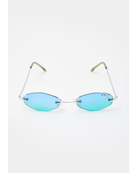 Blue Green Pierced Oval Sunglasses