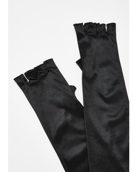 Noir From Afar Satin Gloves