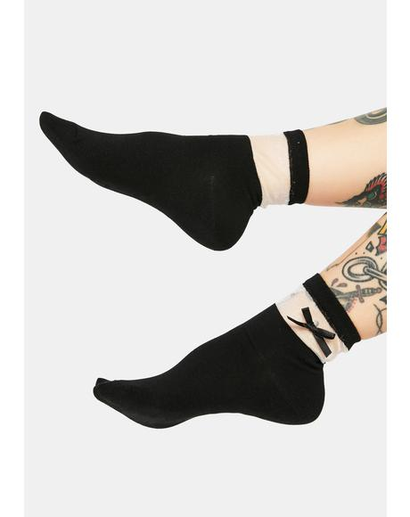 Wicked Cutie Confessions Bow Socks