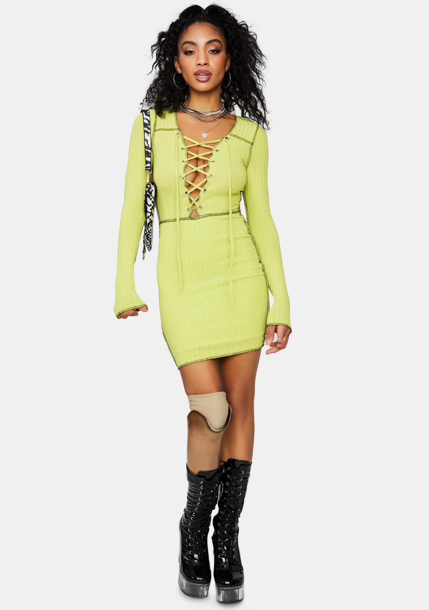Catch Me Slippin' Lace Up Mini Dress