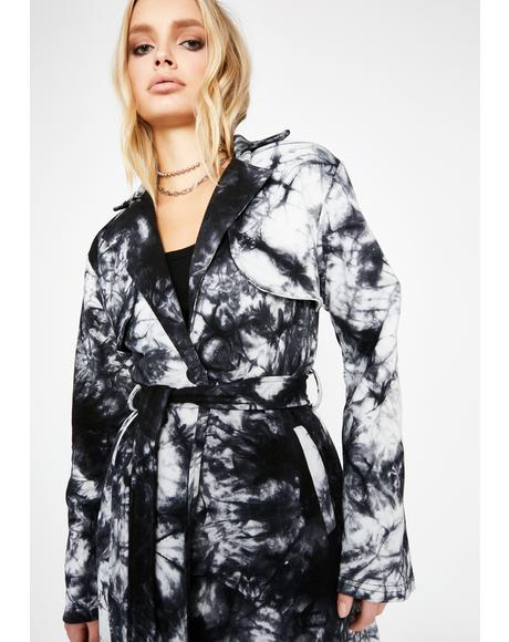 Go Wild Tie Dye Trench Coat