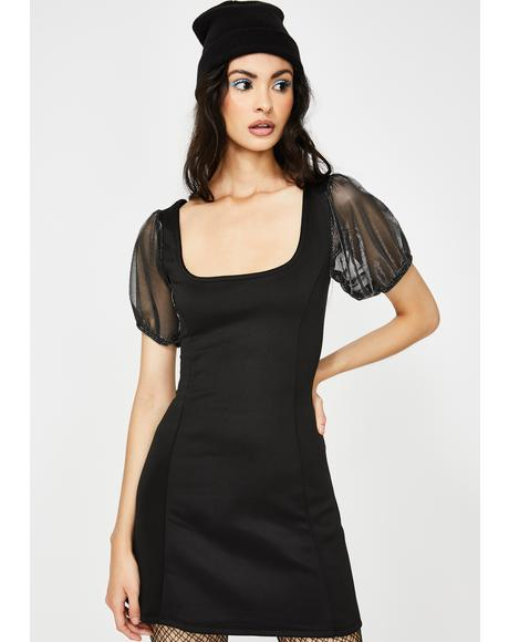 Sheer Metallic Puff Sleeve Mini Dress