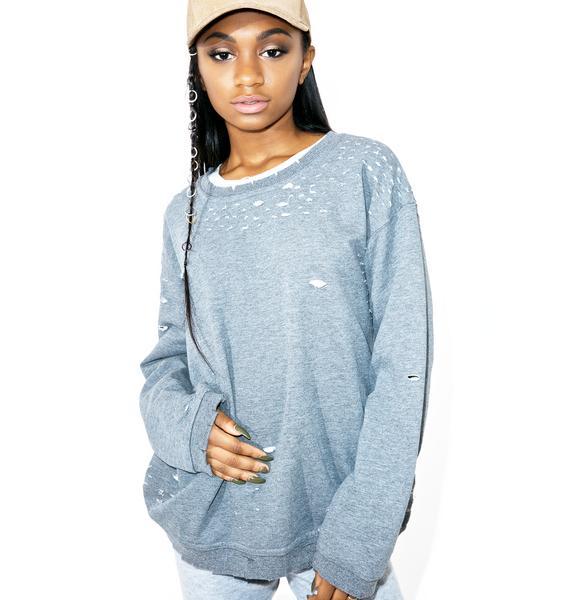 Troublemaker Distressed Sweatshirt