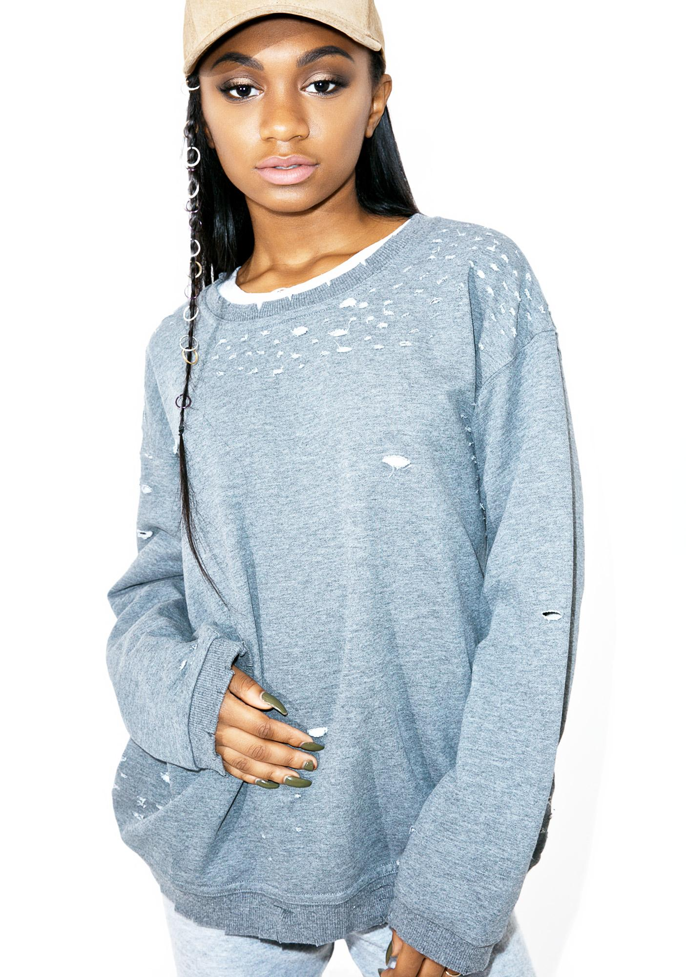 Troublemaker Distressed Sweatshirt