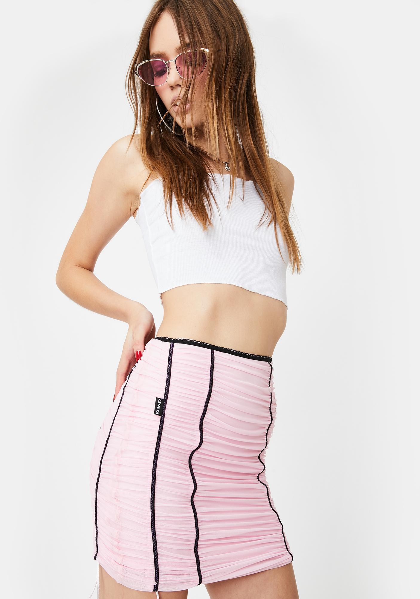 ZEMETA Pink Mood Ruched Mini Skirt