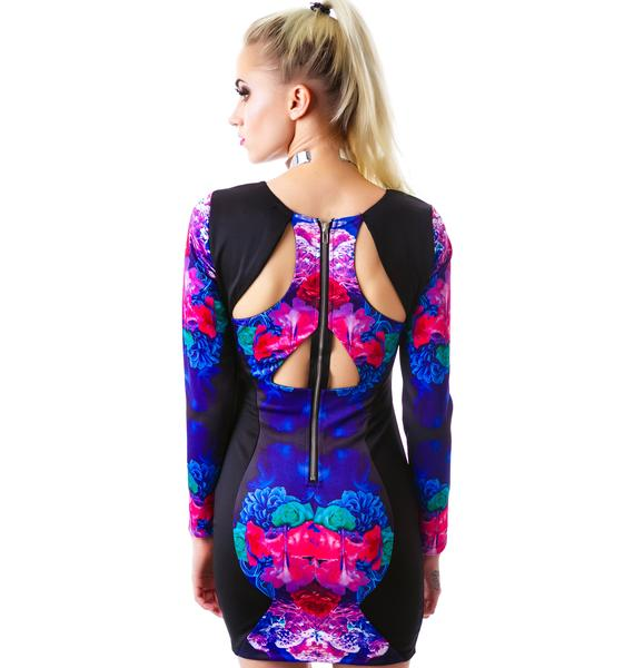 Tiger Mist Electric Trapeze Long Sleeve Dress