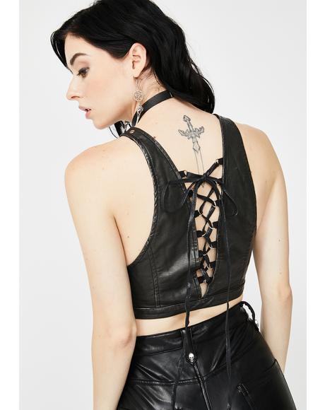 Faux Leather Lace-Up Bra Top