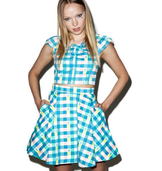 Lazy Oaf Pineapple Gingham Circle Skirt