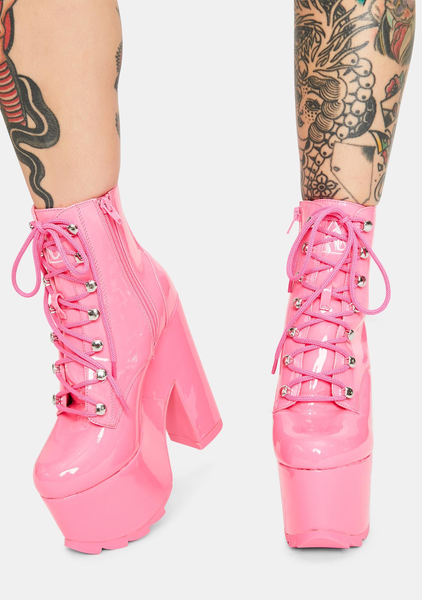 Y.R.U. Night Terror Pink Patent Platform Boots