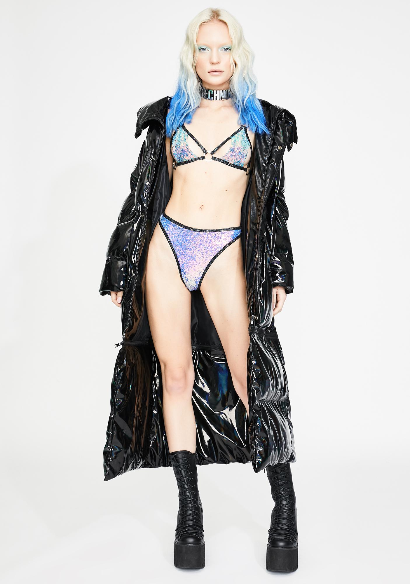 J Valentine Black Opal Sequin High Leg Bottoms