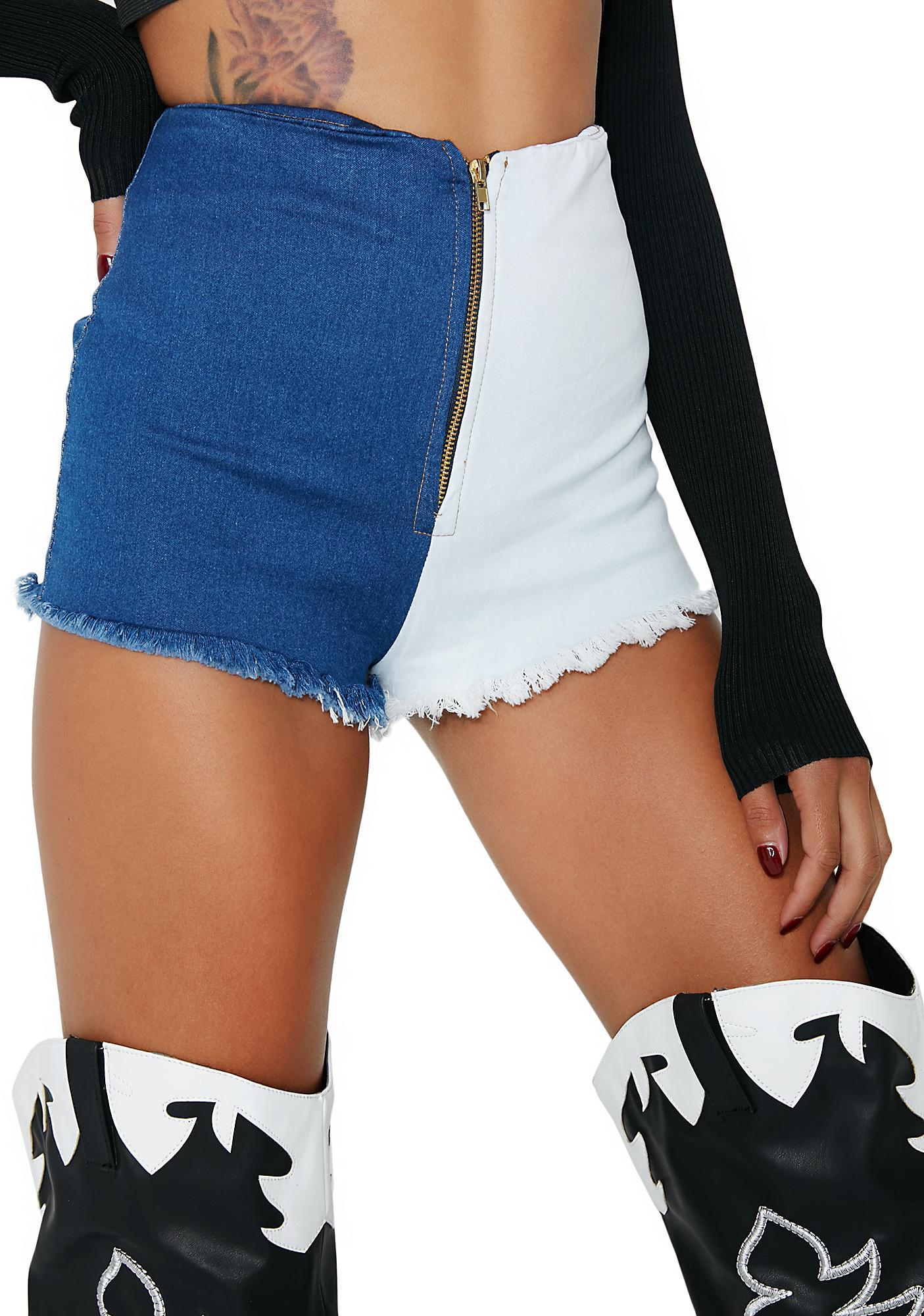 Switchin' Sides Zip-Up Shorts