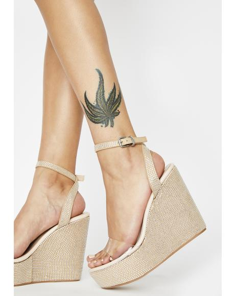 Nude Patent Pizzazz Wedge Heels