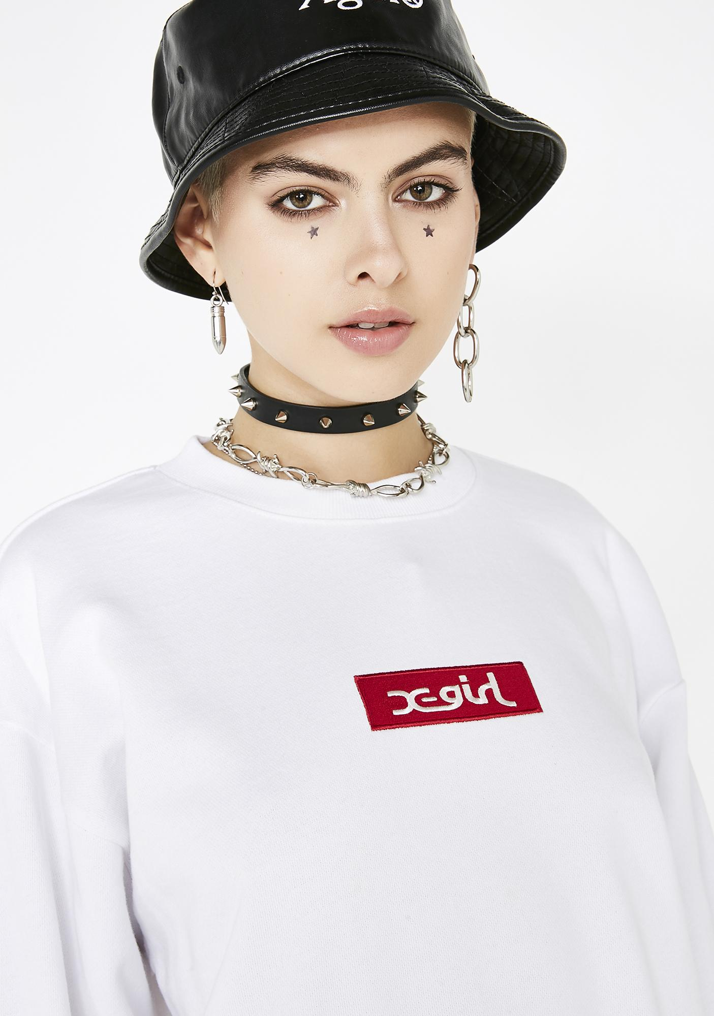 x-Girl Box Logo Crew Sweatshirt