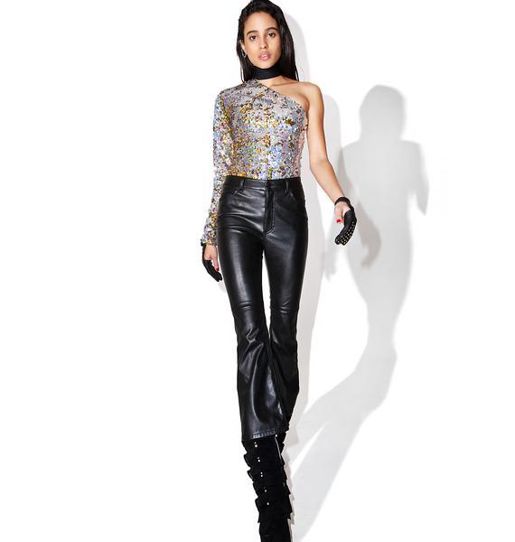 Jaded London One Sleeve Sequin Bodysuit