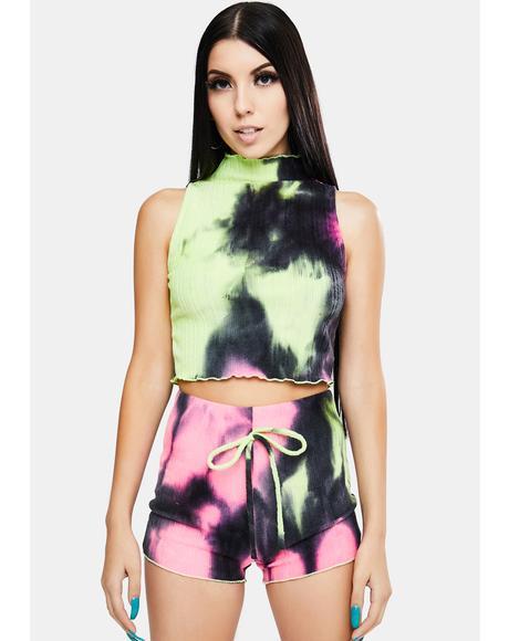 Tie Dye Clout Complex Lounge Shorts Set