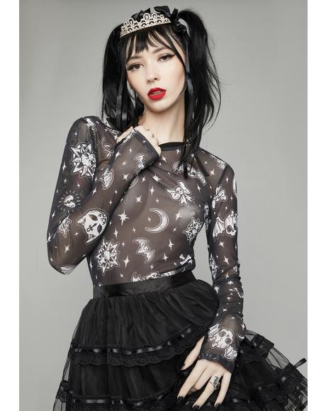 Dark Greetings Mesh Long Sleeve Top