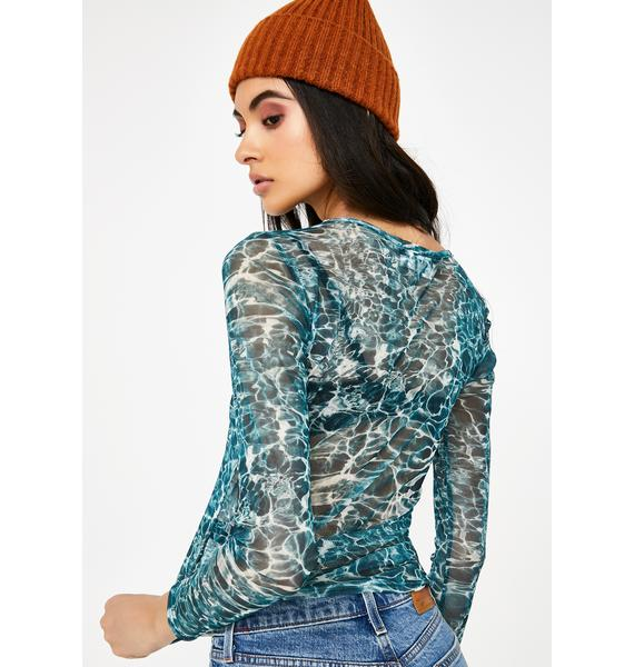 Daisy Street Water Print Mesh Long Sleeve Top