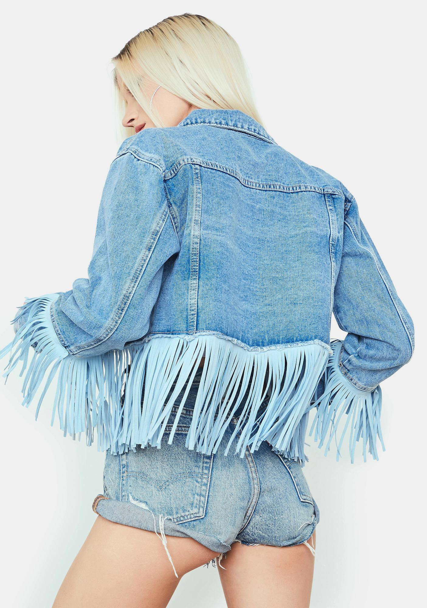 Getting There Fringe Cropped Jean Jacket