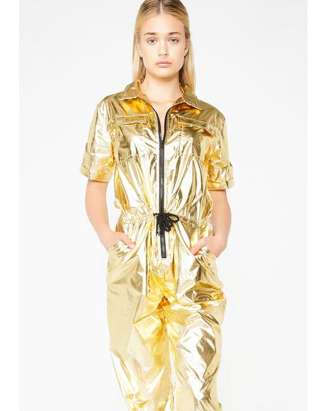 Shinin' On The Haterz Metallic Jumpsuit