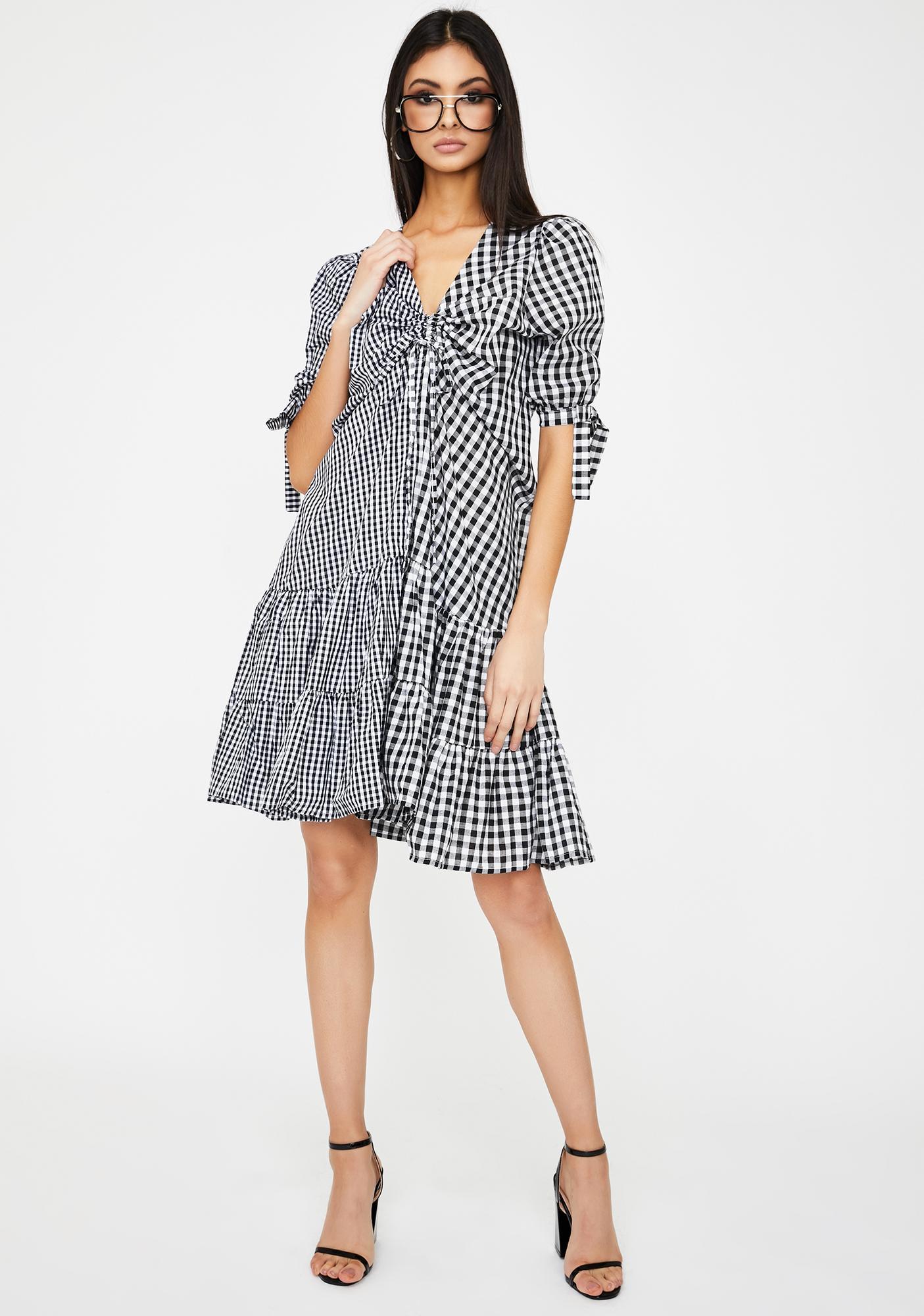 Alzang Mixed Gingham Midi Dress