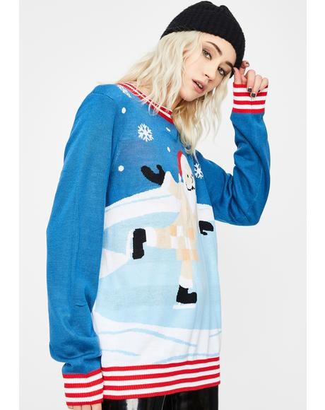 Censored Skater Ugly Christmas Sweater