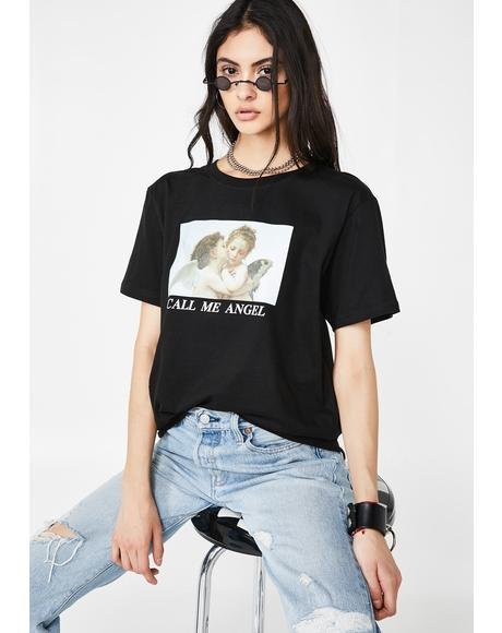 Call Me Angel Oversized Tee