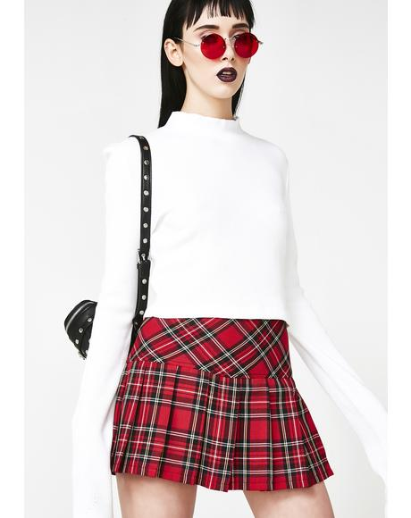 Pleated Bloody Plaid Skirt