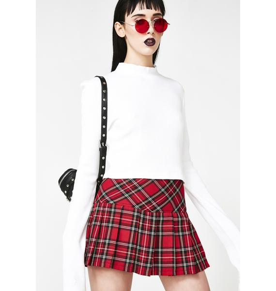 Tripp NYC Pleated Bloody Plaid Skirt