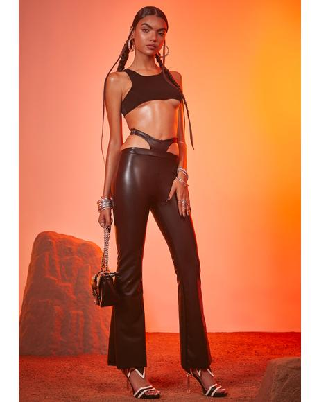 Shady Showdown Vegan Leather Flares