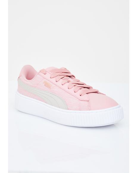 Platform Woven Rose Sneakers