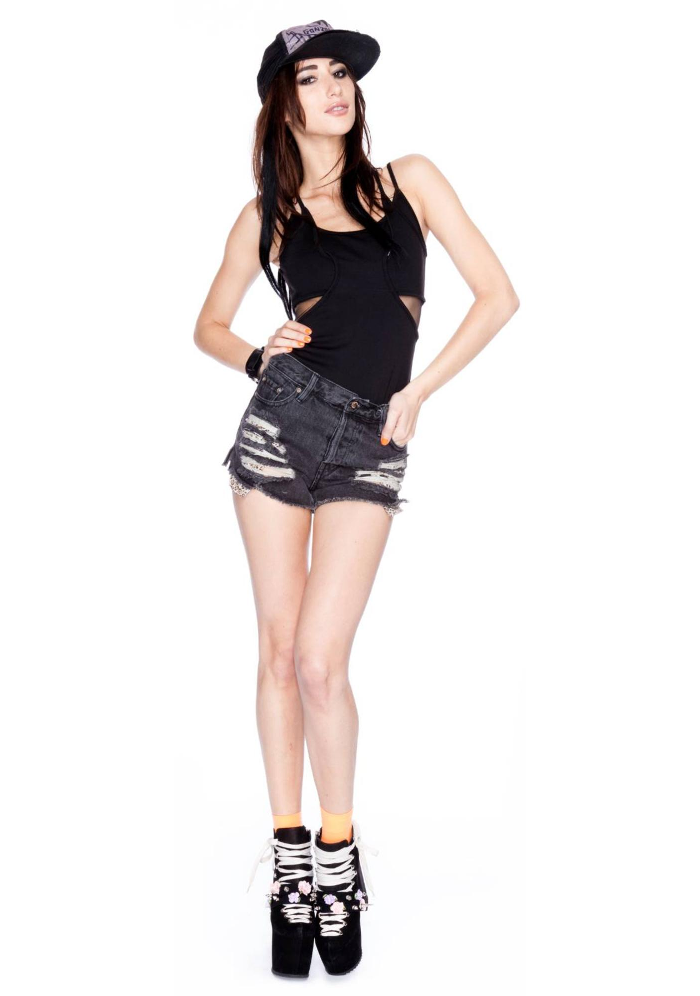 Somedays Lovin Night Prowler Black Contrast Pocket Shorts