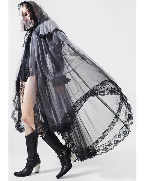 Gothic Zombie Bride Mesh Cloak