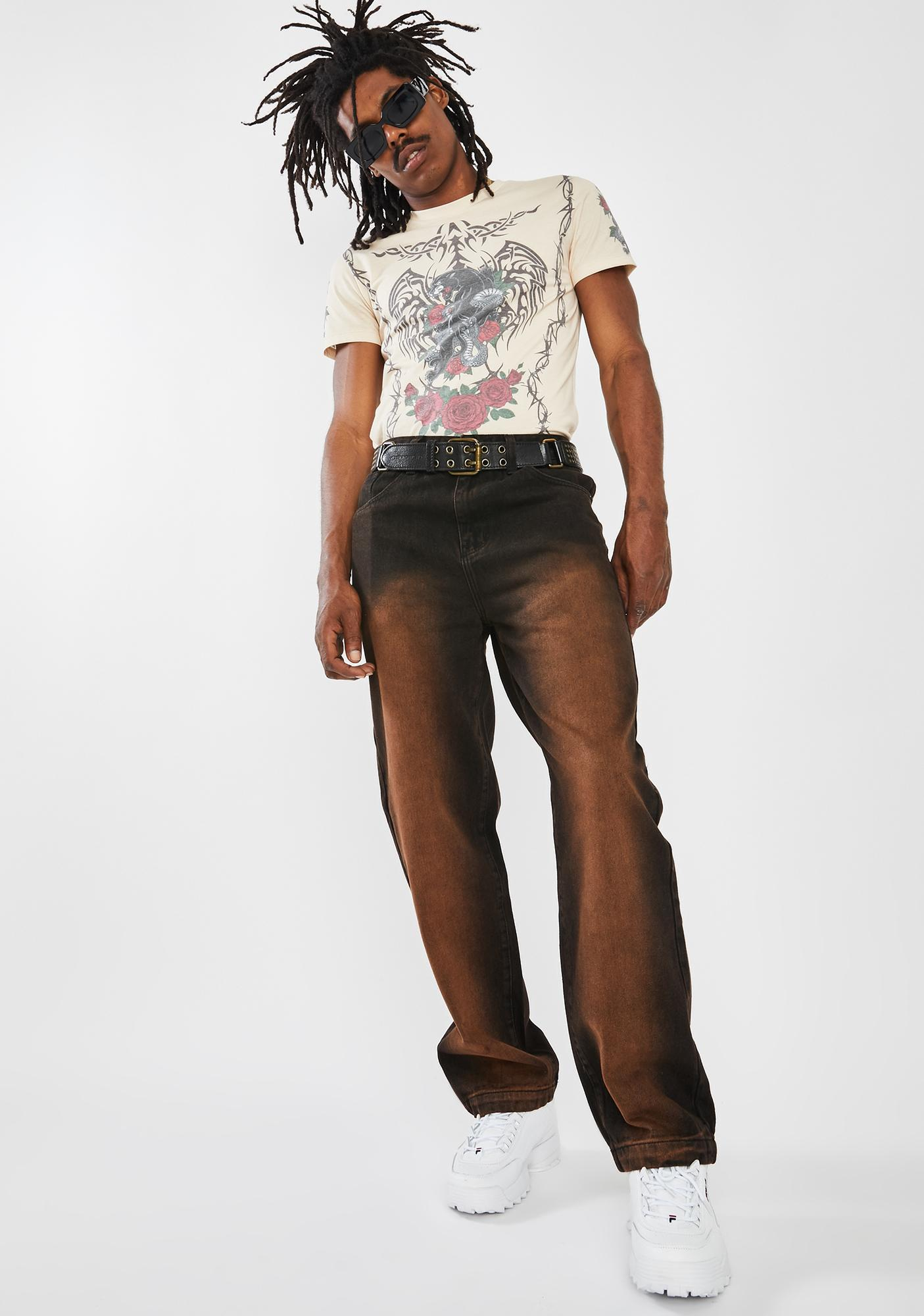 Jaded London Brown Faded Wash Skate Jeans